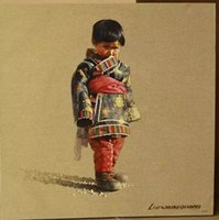 Wholesale tibetan boy original oil painting morden handpainted