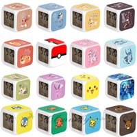 Wholesale Poke LED Alarm Clock D colorful flashing light Cartoon Pikachu Pocket Digital Desk Table Alarm Clock Night Light For Kids Birthday Z242