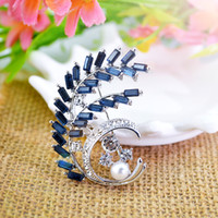 olive tree - Christmas gift rhinestone brooches Olive Tree pearl Crystal diamond Alloy Elegant Corsage Brooch jewelry Pins For Women Gift