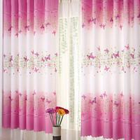 Wholesale 1Pc Fresh Countryside Ke Bridge Door Window Curtain Butterfly Printing Curtain Sheer Curtains E00625