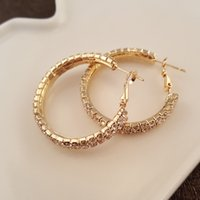 Wholesale Hot Sales Korean Style Crystal Double cm C Shaped Stud Earrings bling Gold Plated Fashion Wedding Jewelry