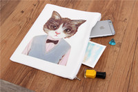 bags chic - Harajuku Cat Coin Purses Fashion Clutch Purses Wallet Cute Cat Change Purse Meow Kitty Small Mini Cartoon Canvas Chic Makeup Bags Free DHL