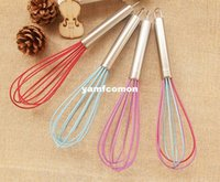 Wholesale Silicone Coated Egg Whisk Inch Egg Beater Stainless Steel Handle Kitchen Gadget for Egg Stiring