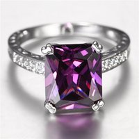 Wholesale Amethyst Rectangle mm KT White Gold Plated Ring ct Purple Crystal around zirconFashion jewelry gem stone for women Wedding gift