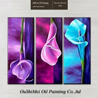 beautiful life salon - Skilled Artist Hand painted High Quality Modern Flower Oil Painting On Canvas Beautiful Calla Oil Painting For Salon Decoration
