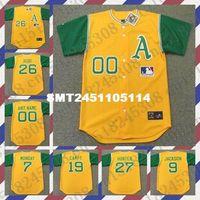 Wholesale Retro Custom JOE RUDI REGGIE JACKSON Baseball jersey JIM quot CATFISH quot HUNTER CAMPANERIS MONDAY jersey yellow Mens Stitched jerseys