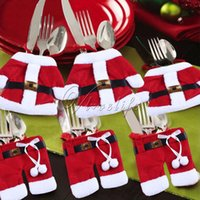 Wholesale 12PCS Santa Suit Clothes Pants Cutlery Protable Bag Silverware Tableware Holders for New Year Gift Home Party Christmas Decorations