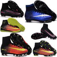 Soft Spike aa green laser - New Kids Football Boots Mercurial Superfly FG AG CR7 Soccer Boots Cleats Laser original Hypervenom Phantom Soccer Shoes Hot Sales