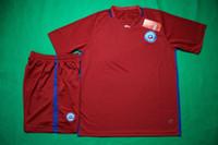 16/17 hogar Chile de fútbol Tailandia diseñador de la calidad de los hombres jersey de fútbol rojo establece nuevos kits deportivos de manga corta de fútbol uniforme de adultos