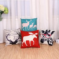 Wholesale Elk giraffe pattern series linen pillow covers sofa cushion cover car cushion covers