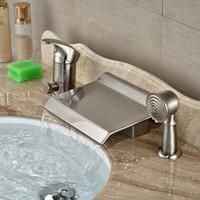 bathtub waterfall spout - Bathroom Shower Faucet Deck Mounted W Brass Handshower Waterfall Spout Bathtub Faucet Brushed