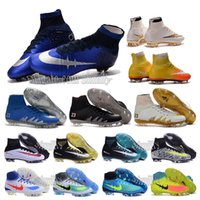 Wholesale OriGINal mens high ankle Football Boots CR7 MercURIal SupERfly IV V Shoes MagISta ObRa FG OrDen II Soccer Cleats NeyMar JR HypERVenom