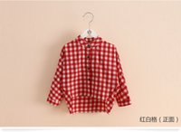 Wholesale Baby plaid shirt girls Spring and Autumn Children single breasted shirt cm