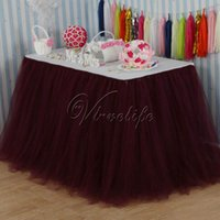 Wholesale 100cm x cm Burgundy Tulle Tutu Table Skirt Tulle Table Skirting Tableware Wedding Birthday Baby Shower Chrismas Party Table Decoration