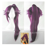 Wholesale annecosplay Shihouin Yoruichi Wig Cosplay Anime BLEACH short wig ponytail mixed purple wigs