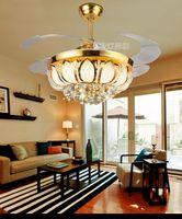 Wholesale Golden crystal LED inch ceiling chandelier fan lights Fan chandelier with controller living room bedroom dining room fashion