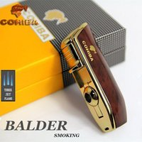 Wholesale COHIBA Lighter Yellow Metal Snake Mouth Shape Butane Gas Windproof Torch Jet Flame Cigarette Cigar Lighter