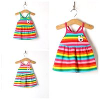 american rabbits - Cute Baby Girls Rainbow Stripped Dresses Infant Cotton Zebra Sleeveless Sleepwear Straps Dress with Rabbit Pattern Colors Y Free Ship