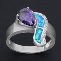 amethyst cocktail ring - Goldfish Imitation Amethyst Blue Opal Ring for Women Fashion Hot Sale Opal Jewelry Gift Cocktail Ring for Party Gift OR016