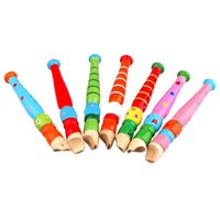 Wholesale Colorful Fun Baby Kids Wooden Flute Whistle Musical Education Toys Portable Developmental Instrument