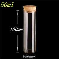 Wholesale 30 mm ml Glass Bottles Vials Jars Test Tube With Cork Stopper Empty Glass Transparent Clear Bottles