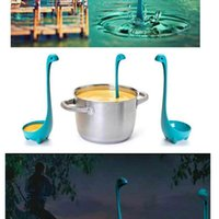Wholesale hot Nessie Ladle Vertical Long Handle Plastic Spoon Dinosaurios Loch Ness Monster Nessie Spoons Cucharas Louche De Cuisine
