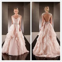 best bridal gown designers - 2016 Fancy New Designer Blush Best Prom Dresses Sweetheart Cap Sleeves Backless Beaded Summer Vintage Bridal Gowns with Tiers Ruffles