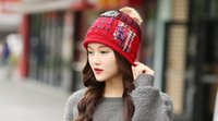 Wholesale New winter wool hat female taxi velvet thick warm fur ball cute ear patch knitted hat Korean wave