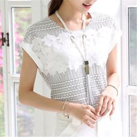 Wholesale Summer Tops Women Blouse Shirt Short Sleeve Chiffon White Blouses With Lace Plus Size Formal Ladies Blouse Tunic B236