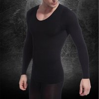 Wholesale New Mens V neck Shapewear Long Sleeve Compression Base Shirt Thermal Underwear Corset Tops Shapers