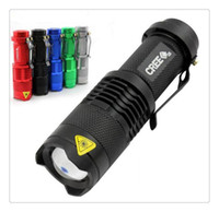 Wholesale Free Q5 Flash Light W LM CREE Q5 LED Camping Flashlight Torch Adjustable Focus Zoom waterproof flashlights Lamp
