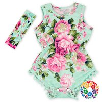 baby boy romper vintage - Kids Infant Baby Girls One Piece Romper New Arrival Vintage Floral Jumpsuit Bodysuit with Free Headbands Clothing Sets