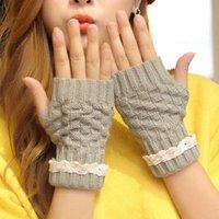 Wholesale Best Deal New Gift Fashion Women Girls Winter Autumn Hemp Flowers Lace Mittens Knitted FingerlessThick Warm Gloves Pair