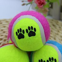 Wholesale 6 cm Natural Rubber Pet Tennis Balls with Footprints Tennis Special Toy Dog Pet Bite Ball Multicolor Outdoor Activity Training Balls