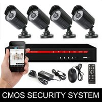 Wholesale Professional CCTV Camera System Camera CMOS TVL Camera Bullet Camera CH DVR Kit with Video Wire Power Adapter