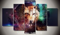 arabic posters - 5 Panel Wolf Group Painting Children s room decor print poster picture canvas arabic calligraphy paintings F