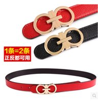 Wholesale 8 word buckle brushed leather belt men genuine leather two sided leather belt Ms Korean wild influx of white