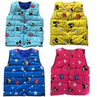 baby geese - New Autumn Winter Kids Vest Cartoon Vest Jacket Print Baby Boys Girls Waistcoat Cotton Sleeveless Parka Outwear Cute Children Clothing