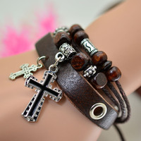 Cheap Punk Charm Leather Multilayer Bracelet Best Silver Cross Cupid Wood Beads