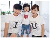 Wholesale 2016 Family matching clothes Parent child Casual Outfit Family Clothing Short Sleeve Cotton T shirt Summer Love Family Suits