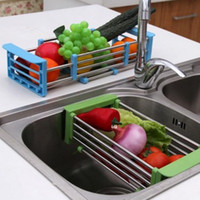 adjustable dish drainer - 2016 new Stainless steel retractable wicker baskets Adjustable Shelf fruit vegetable draining rack tray dish drainer
