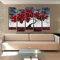 Wholesale Handpainted piece art oil canvas romantic wall art tree picture canvas painting red tree painting Large wall pictures for living room