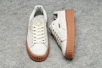Wholesale 2016 Rihanna x Suede Creeper Black Oatmeal Women Men Casual Shoes Fashion Rihanna shoes sneakers With Box