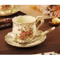 ceramic cup and saucer - Fashion Royal coffee cup set quality bone china ceramic d Angleterre coffee cup and saucer afternoon tea set spoon wedding gift