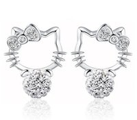 Wholesale New Fashion Crystal Cat Stud Earrings Cute Rhinestone Hello Kitty Earrings bow knot KT jewelry for woman Factory Direct