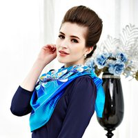 hand painted silk scarf - Authentic High grade Silk Scarf Blue Peacock Pure Silk Hand painted Women Scarf cm cm Square Shawl Silk