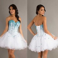 Wholesale Blue And White Prom Dresses Sweetheart Major Beading Crystal Exposed Boning Lace Up Back A Line Tulle Ruched Short Homecoming Dresses
