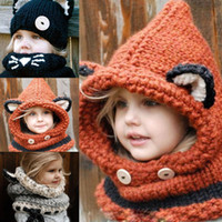Wholesale Fashion Winter Crochet Children Hat Neck Warmer Wrap Scarf One piece Beanie for Kids Hats Cute Fox Crochet Collar Boy Girl Gift