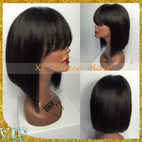 best bobs - Best Glueless Full Lace Human Hair Bob Wigs For Black Women Brazilian Virgin Hair Straight Short Bob Lace Front Bob Cut Wigs With Bangs