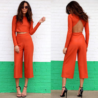 Wholesale Women s Fashion Sexy Naked Jumpsuit Seven Wide legged Pants Two piece Leisure Suit B
